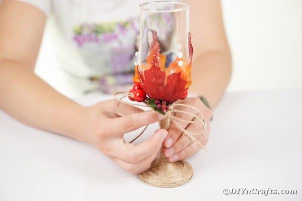 Gluing bow to wedding stemware