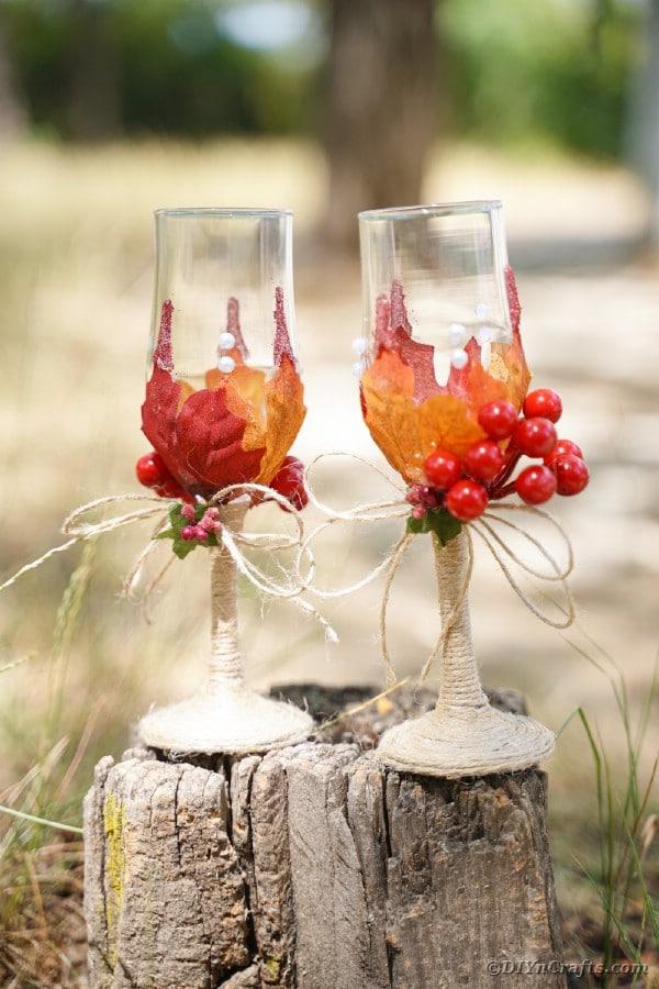 Wedding glasses on a tree stump