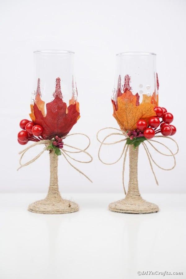 Fall wedding stemware on white table