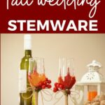 Wedding stemware on table with wine
