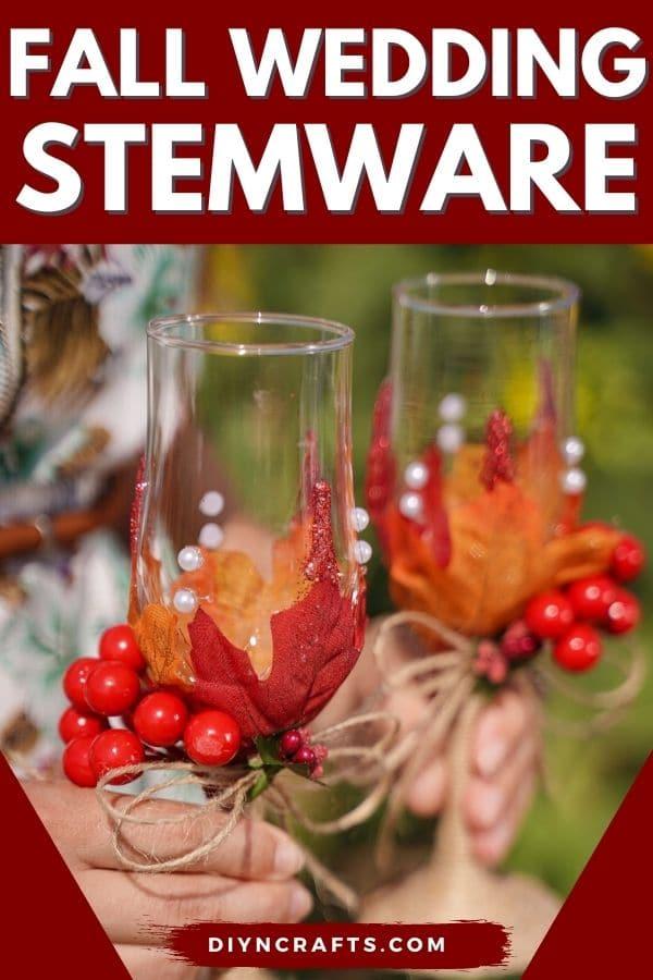 Woman holding fall wedding stemware