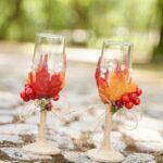 Fall wedding stemware on cobblestone