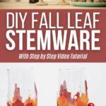 Fall leaf wedding stemware collage