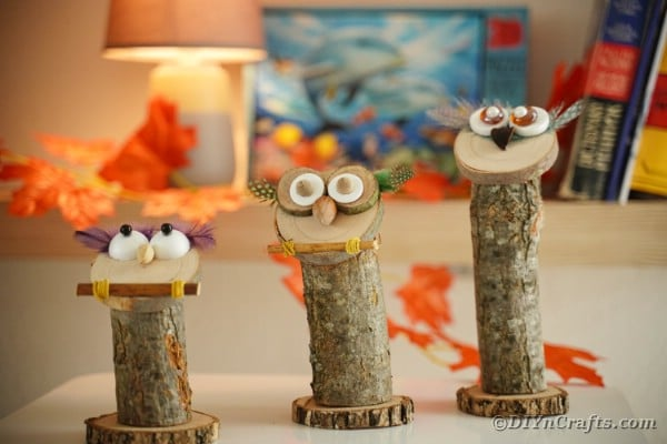 Trio of wooden owls on table