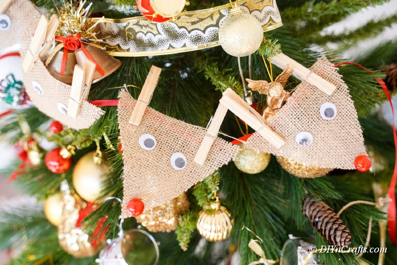 reindeer made from burlap on tree