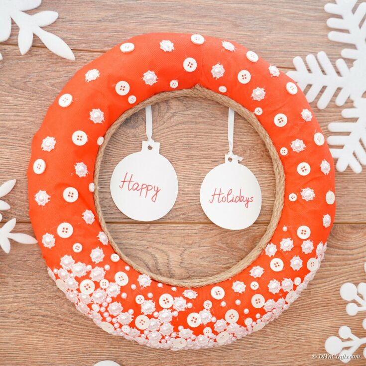 Button Christmas Wreath Decoration For Your Door