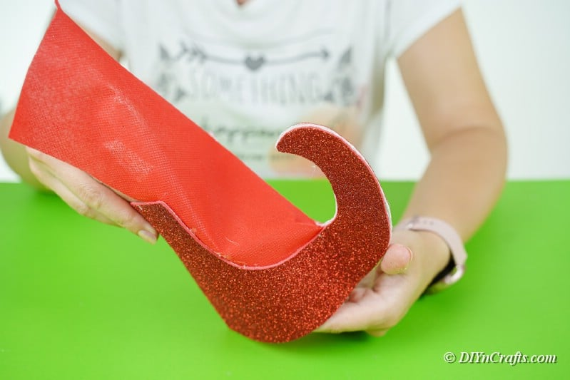 forming a boot shape out of foam paper