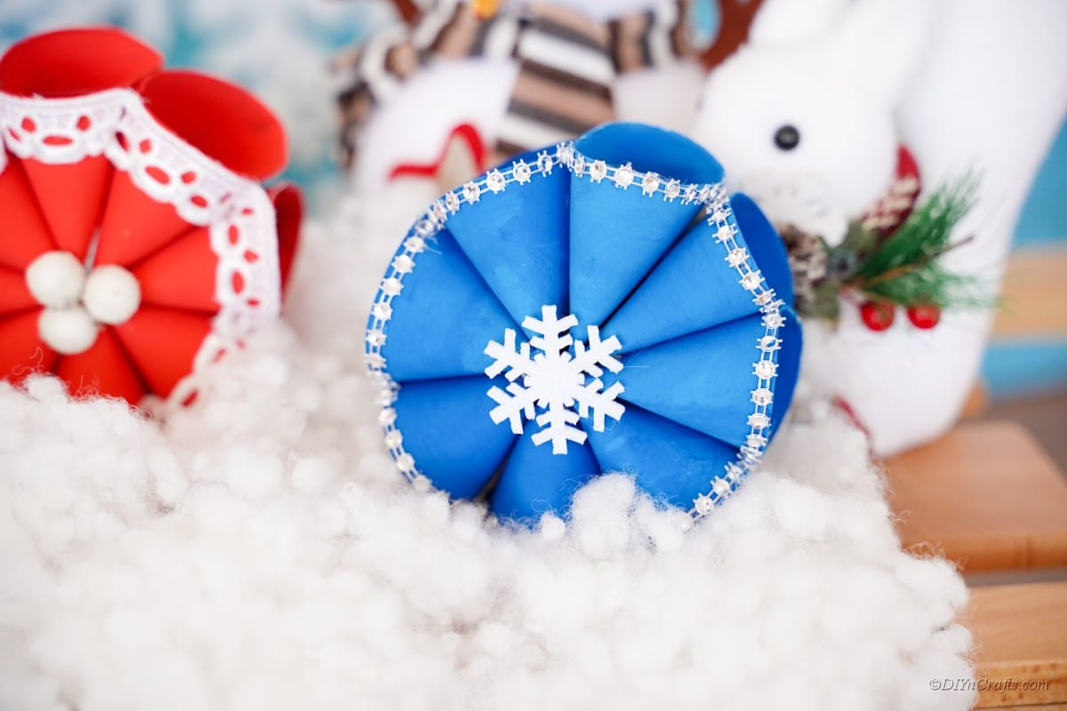 blue christmas craft with decorations fake snow
