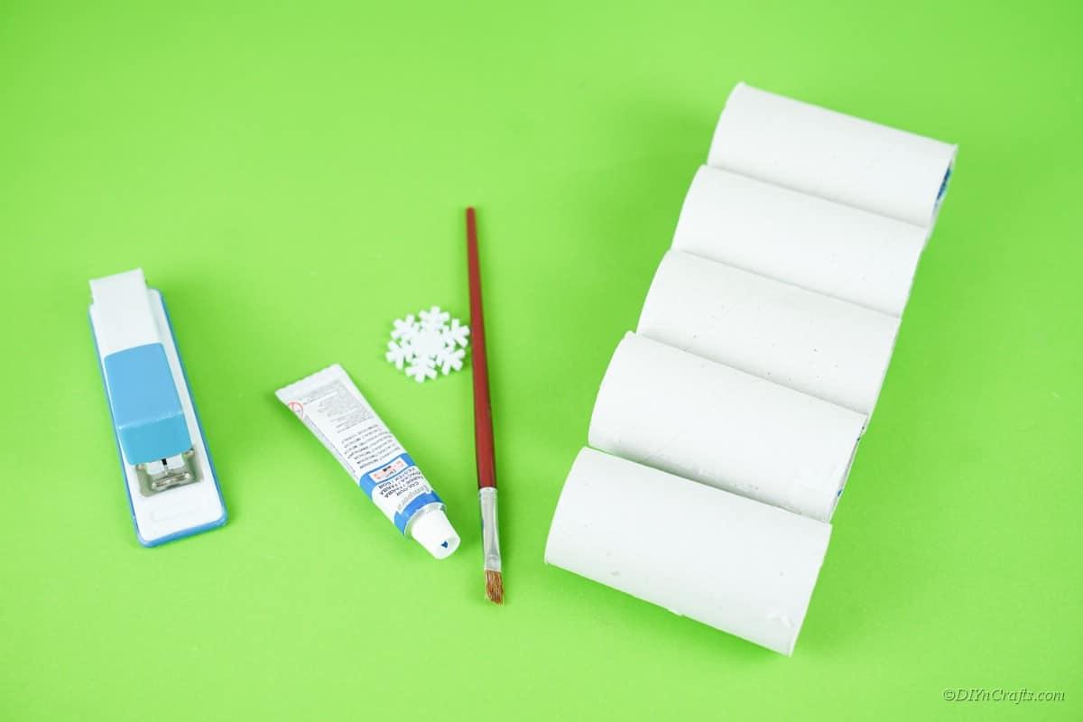 set of craft supplies toilet paper rolls