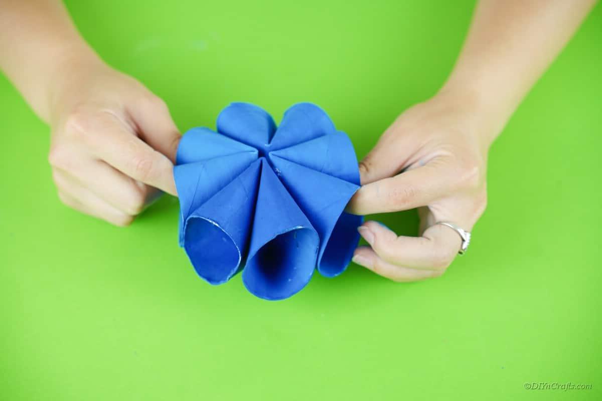 assembling blue paper craft