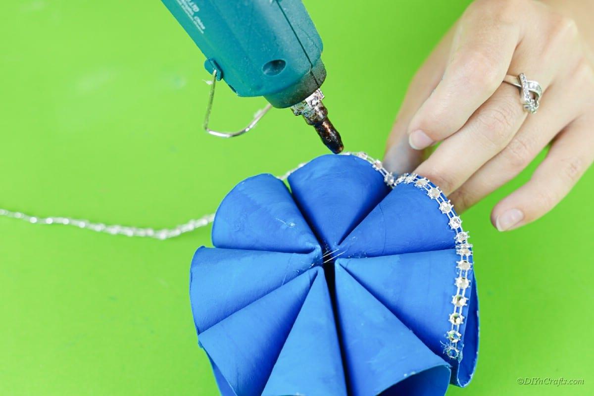 decorating craft with hot glue gun