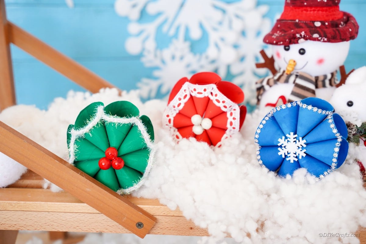 Christmas papercrafts painted on cotton snow