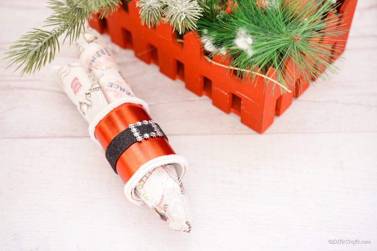 Santa themed napkin holder ring with belt
