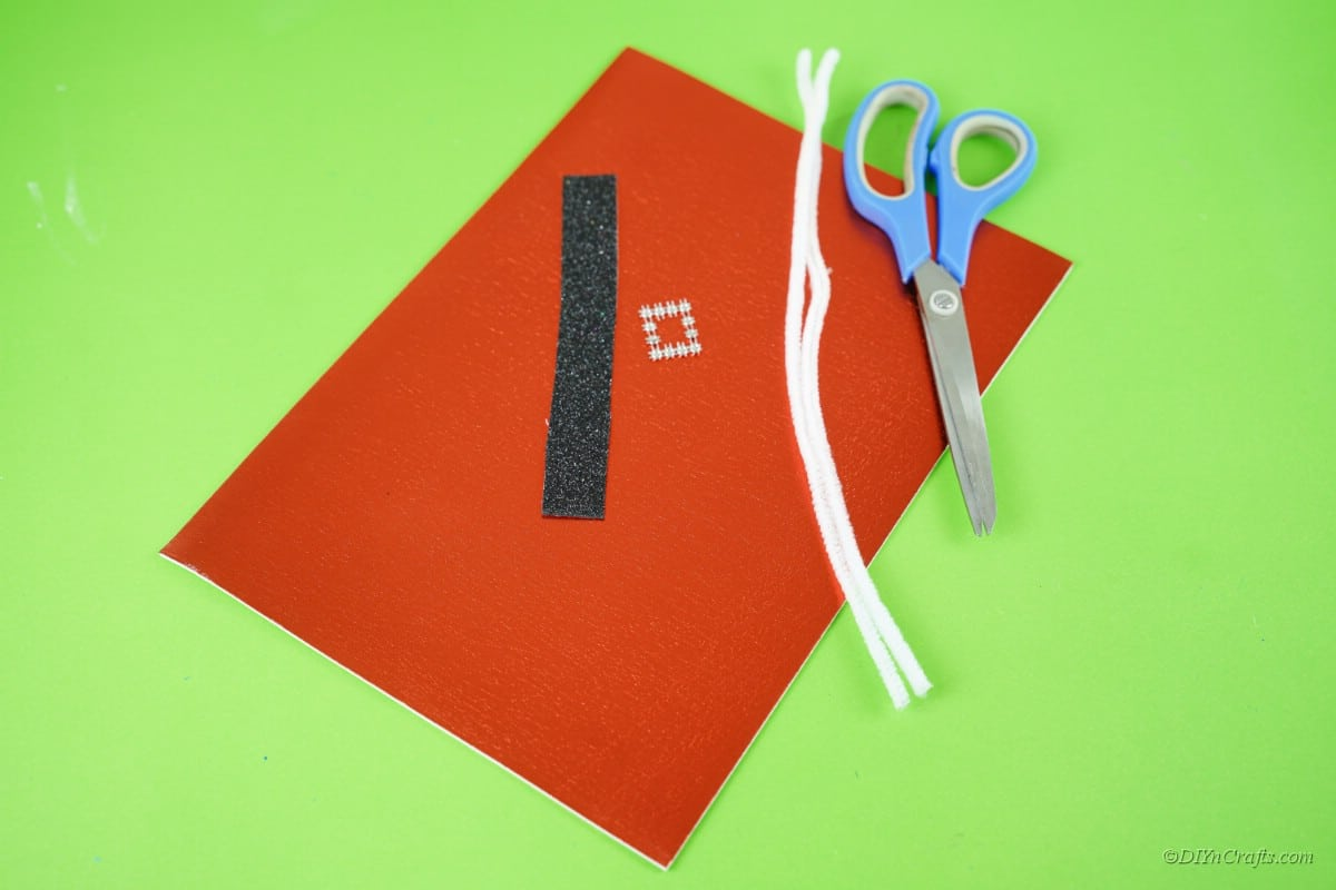 craft supplies red paper scissors pipecleaner