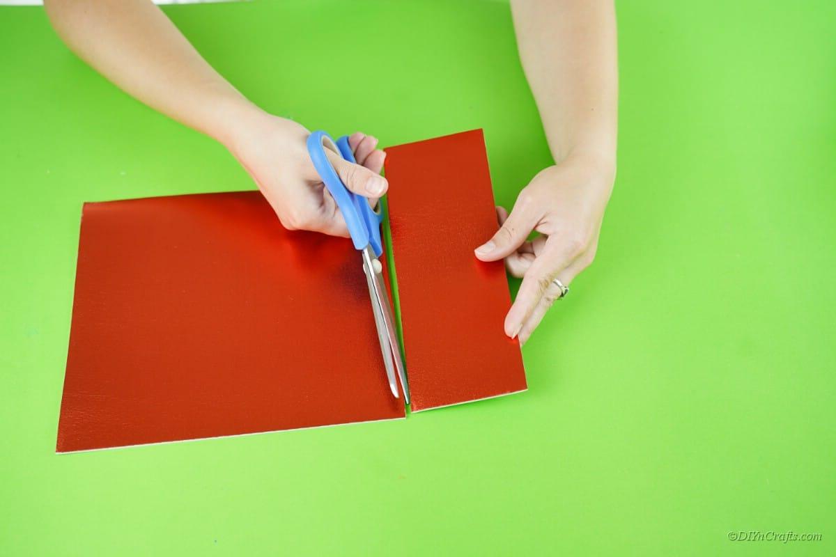 cutting red foam craft sheet paper