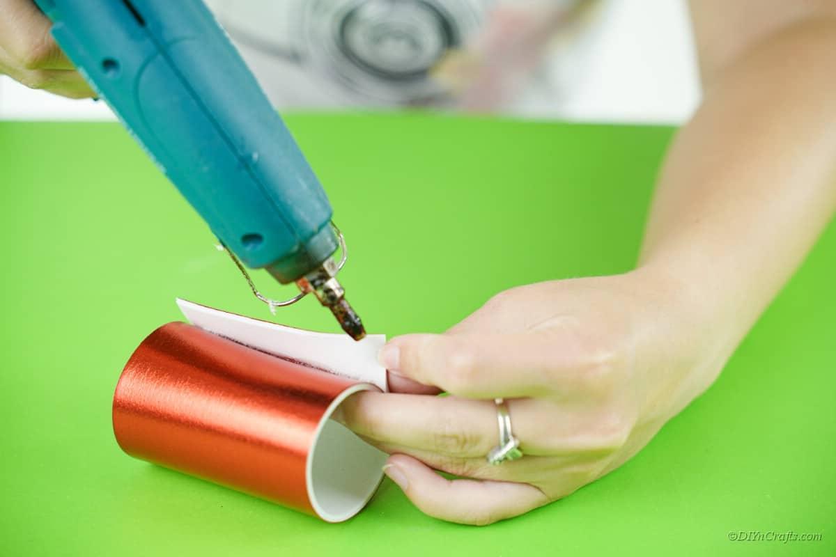 hot glue gun red foam craft sheet gluing together