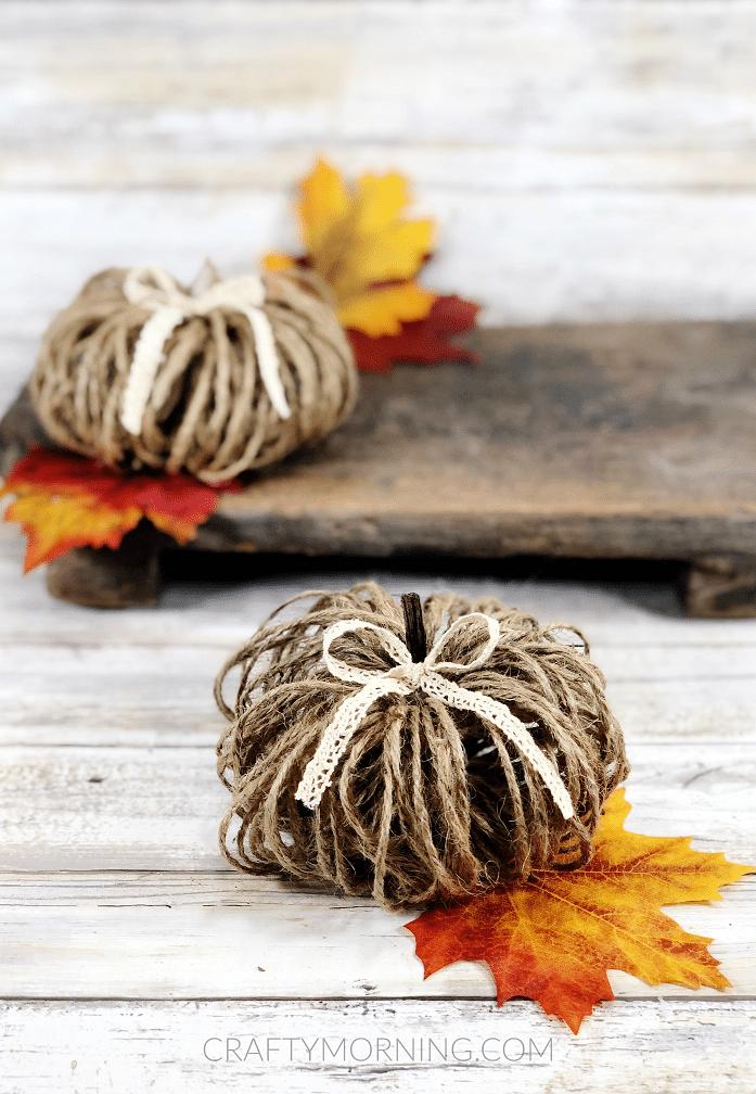 Twine pumpkin on wooden surface