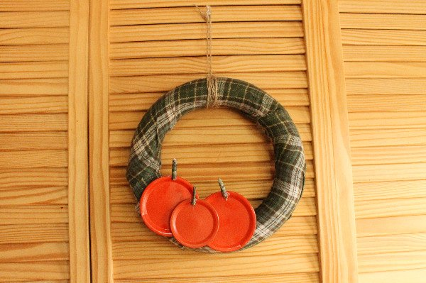 Wreath on wooden slat doors