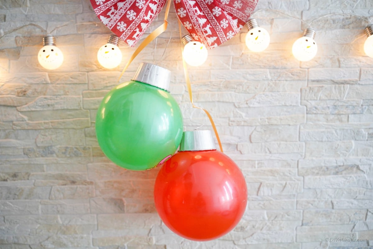 Two rubber balls gigantic Christmas ornament craft hanging