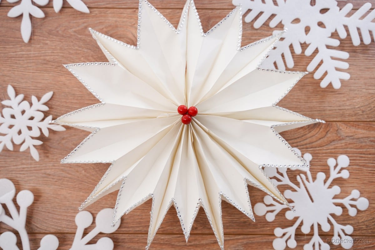 paper star craft with snowflakes