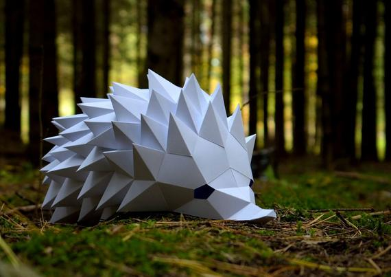 Hedgehog Mask DIY papercraft Download and make your own mask | Etsy