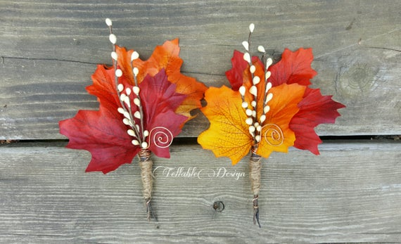 Fall Wedding Boutonniere Maple & Twigs | Etsy