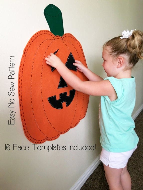 Kids Halloween Activity Felt Jack O Lantern Pumpkin PATTERN | Etsy