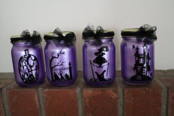 Set of 4 Halloween Lanterns Haunted Mansion Ghost | Etsy