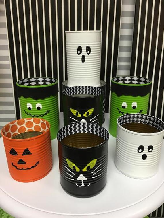 Set of 6 HALLOWEEN TIN CANS | Etsy