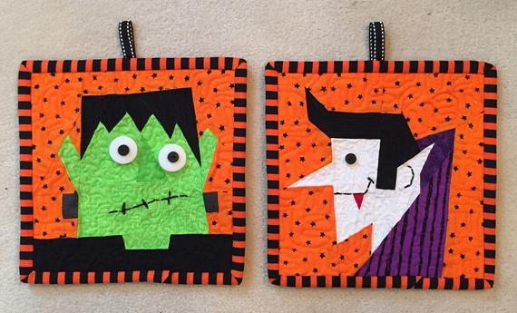 Count Dracula and Frankenstein FREE Paper Pieced Block | Etsy