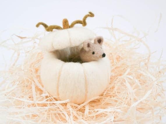 White pumpkin and beige mouse Needle felt miniature   Etsy