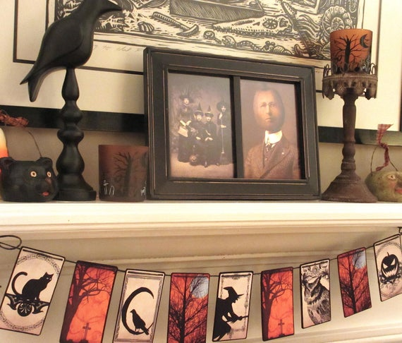 HALLOWEEN NIGHT GarlandHalloween banner Witch banner | Etsy
