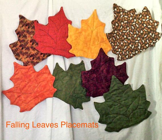 Quilted Falling Leaf Placemats | Etsy