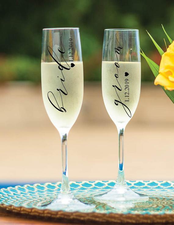Bride & Groom Decal Wedding decal Wedding Glass Decal Bride | Etsy