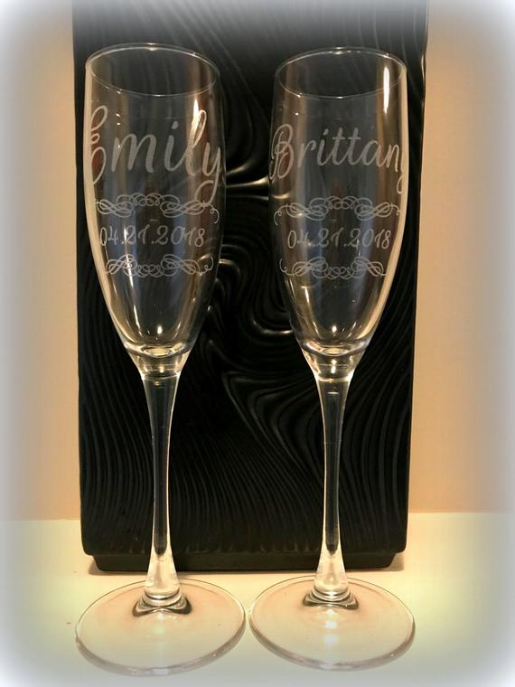 Personalized Champagne Glass Flutes Toasting Flutes Set | Etsy