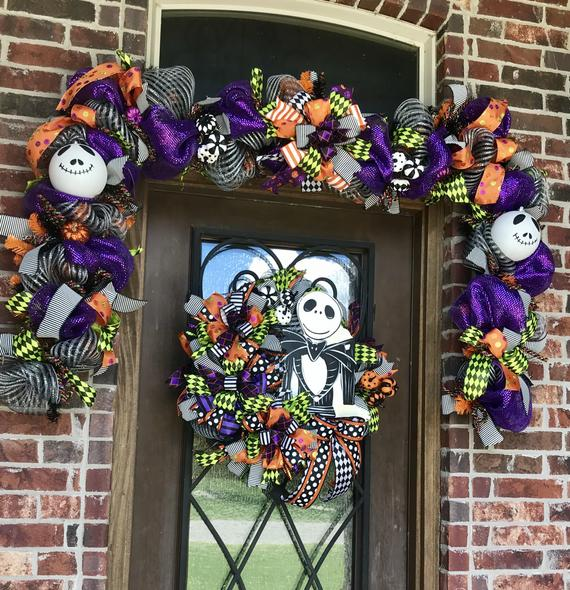 Skeleton halloween garland deco mesh door garland purple | Etsy