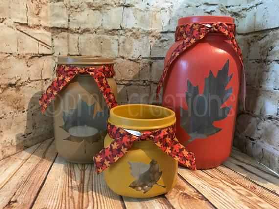 Set Of Fall Leaves Painted Mason Jar Tea Light Candle Holders | Etsy