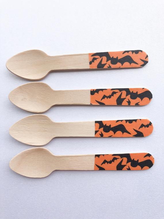 Halloween bat wood spoon halloween bat decoration Halloween | Etsy