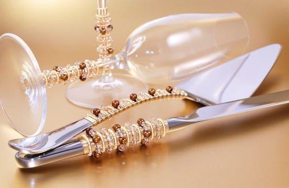 Autumn Wedding Cake Server Set And Matching Crystal Toasting | Etsy