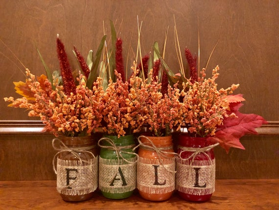 Fall mason jar flower set | Etsy