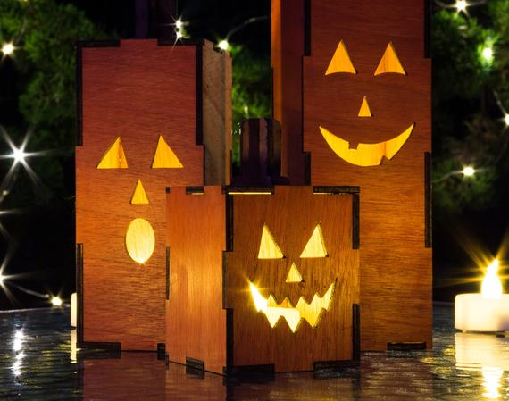 Light-Up Jack O Lanterns Set of 3 Wood Pumpkins | Etsy
