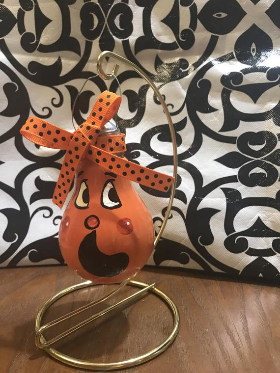 Hand-painted pumpkin lightbulb | Etsy