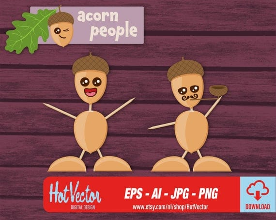 Acorn people autumn DIGITAL DOWNLOAD ai eps png jpg | Etsy