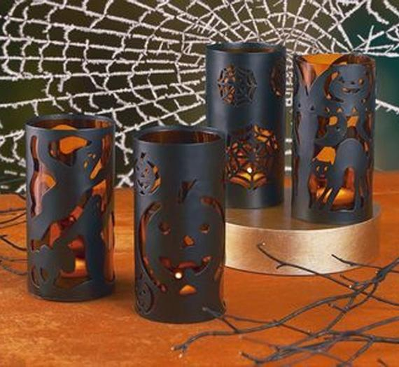 Black Metal Halloween Tealight Candle Lantern Luminary with | Etsy