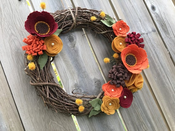 Fall Wreath Rustic Wreath Felt Flower Grapevine Wreath Fall | Etsy