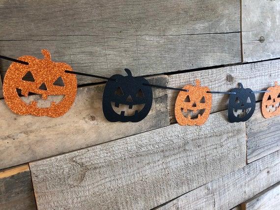 Jack o lantern garland/Halloween banner/Halloween | Etsy