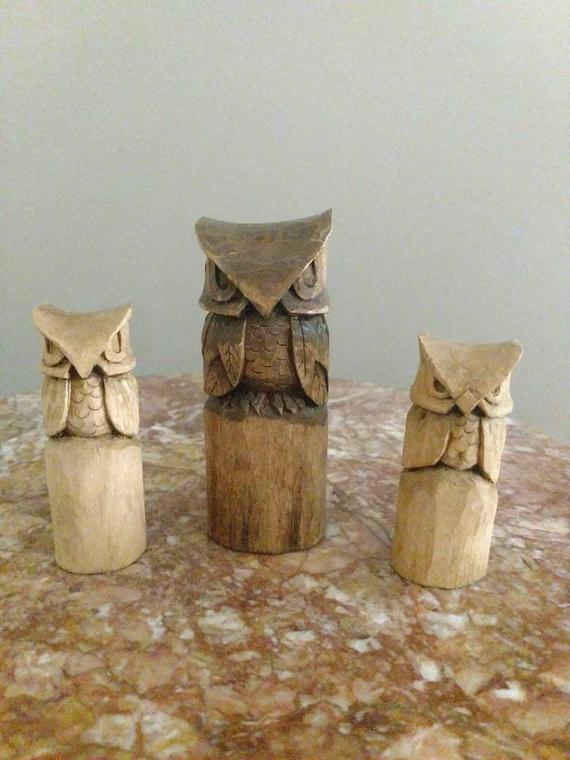 Hand Carved Wooden Owl Totem Statue | Etsy