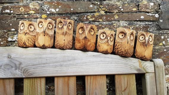 Wooden Owl in Oak. Paperweight. Price per individual Owl. | Etsy