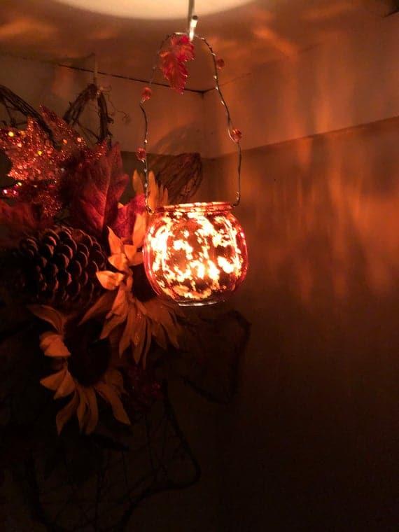 Orange Hanging Glass Lantern/ Candle Holder/ Fall Decor/ Leaf | Etsy