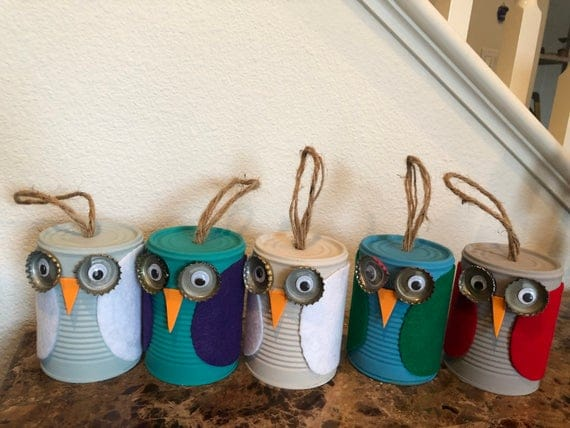 Recycled tin can owl bird house | Etsy